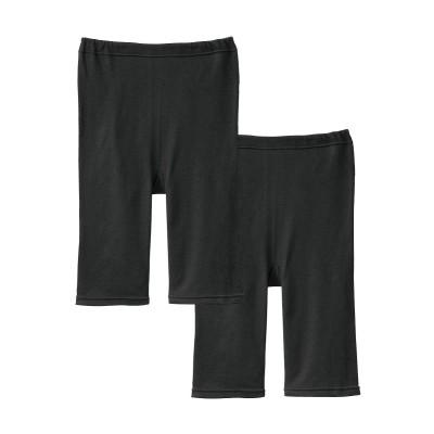 日本製 綿100%ガーゼで肌にやさしい 5分丈ボトム2枚組 (レギンス・スパッツ・オーバーパンツ)Leggings