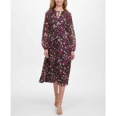 トミー ヒルフィガー ワンピース トップス レディース Carine Floral-Print Midi Dress Aubergine Multi