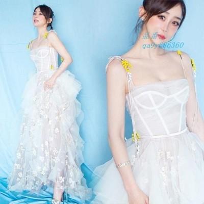 ホワイト 白 透け感 ノースリーブ 30代 パーティードレス 刺繍 結婚式ドレス 着痩せ不規則 細身 20代 姫系 発表会 ロング かわいい 卒業式 キレイめ