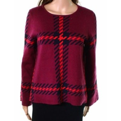 taylor テイラー ファッション トップス Ann Taylor NEW Red Women Size Small S Long Sleeve Plaid Knitted Sweater