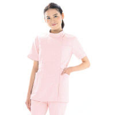KAZENKAZEN レディスジャケット半袖 (ナースジャケット) 医療白衣 ピンク 4L 103-23(直送品)