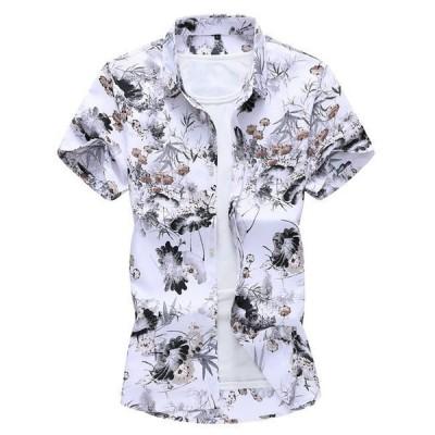 メンズシャツアロハシャツ花柄夏ハワイアントップス祭り半袖シャツ大きいサイズビーチ