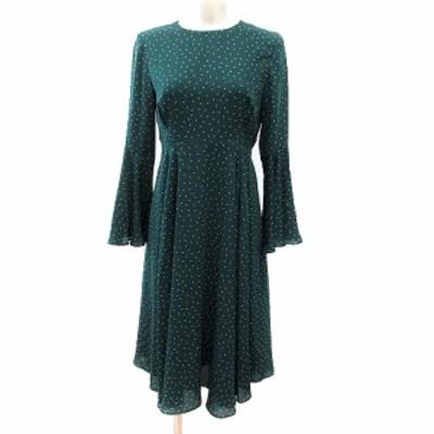 【中古】アクアガール aquagirl ワンピース ミモレ ロング ドット フレアスリーブ 長袖 36 緑 グリーン レディース