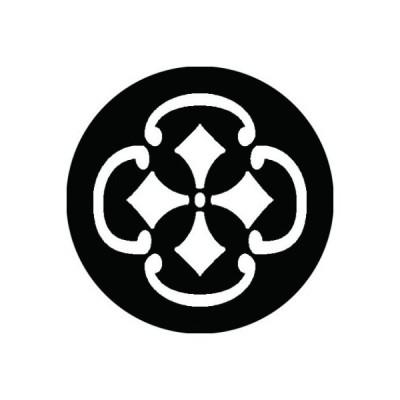 家紋シール 白紋黒地 木瓜鐶に剣菱 布タイプ 直径23mm 6枚セット NS23-2951W
