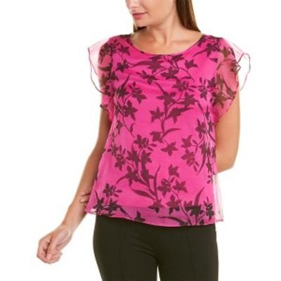ヴィンスカムート レディース カットソー トップス Vince Camuto Iris Floral Print Top pink shock