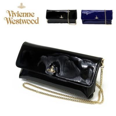 ヴィヴィアンウエストウッド Vivienne Westwood チェーン バッグ レディース VERNICE LONG WALLET WHITH CHAIN 520400040106 ブラック ネイビー パテント レザー