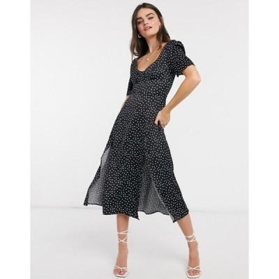 エイソス レディース ワンピース トップス ASOS DESIGN cupped satin printed maxi dress with splits in black polka dot
