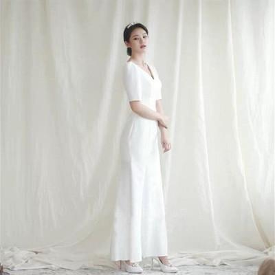 半袖 ミモレ丈 ウェディグドレス 二次会 花嫁 パーティドレス 結婚式 白 ワンピース 演奏会 大きいサイズ 小さいサイズ ドレス 発表会 安い お呼びばれ