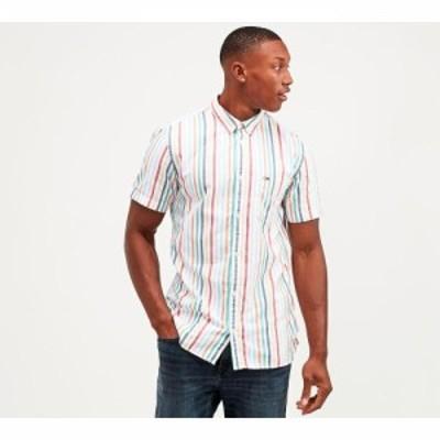 トミー ジーンズ Tommy Jeans メンズ 半袖シャツ トップス striped flag patch short sleeve shirt White