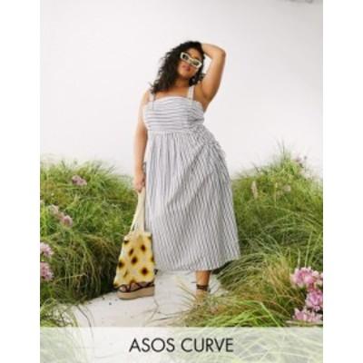 エイソス レディース ワンピース トップス ASOS DESIGN Curve overalls midi sundress with pocket detail in stripe print Stripe
