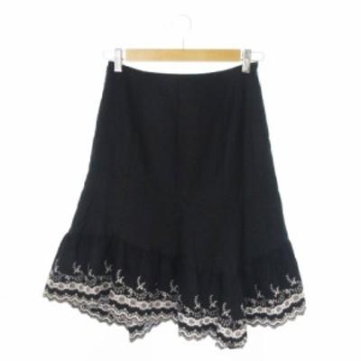 【中古】レストローズ L'EST ROSE スカート フレア ひざ丈 ヘム 刺繍 ウール カシミヤ混 2 黒 ブラック レディース