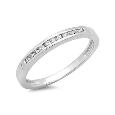 0.15カラットCTW) 10Kホワイトゴールドラウンドダイヤモンドレディース結婚記念バンドスタッカブルリング