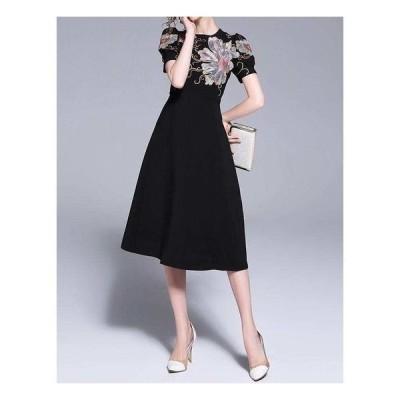 和柄ワンピースドレス膝丈膝下ミモレ丈刺繍黒バルーンスリーブパフスリーブ半袖フレア花柄大人大きいサイズ20代30代40代