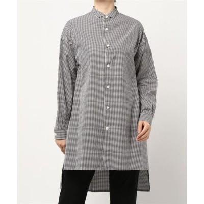 シャツ ブラウス 【Gymphlex】ギンガムチェック ウィングカラーシャツ WOMEN