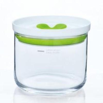 保存容器 380ml 2個セット ガラス製 丸型 S バルブ付き キッチンデリ キーパー グリーン ( キャニスター ガラス容器 保存びん ガラスジャー ガラスキャニスター 保存 保管 容器 瓶 ビン ピクルス作り シリコンパッキン付き )