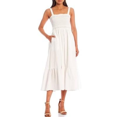 チェルシー&バイオレット レディース ワンピース トップス Cotton Poplin Side Pocket Sleeveless Smocked Midi Dress White