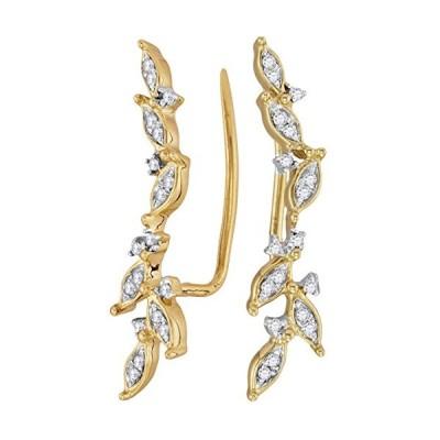 10kt イエロー ゴールド レディース ラウンド ダイヤモンド Climber Earrings 1/5 Cttw(海外取寄せ品)