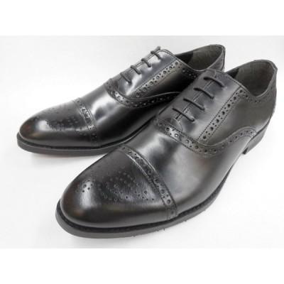 Robe pleine(ロベプラン) 激安マッケイ式 本革ビジネスシューズ セミブローグ RP-3004(ブラック) メンズ 靴
