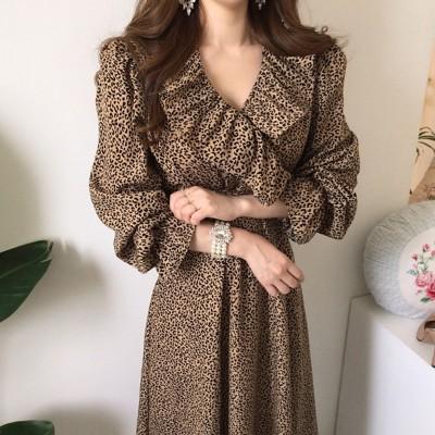 ファッションスカートFeminine Lotus Leaf V-Neck Leopard Print Dress In Autumn And Winter Slim Waist Slimming Bo