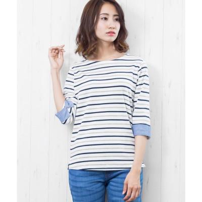 ミリアンデニ mili an deni 7分袖袖シャンブレー切替Tシャツ (白x灰x紺)