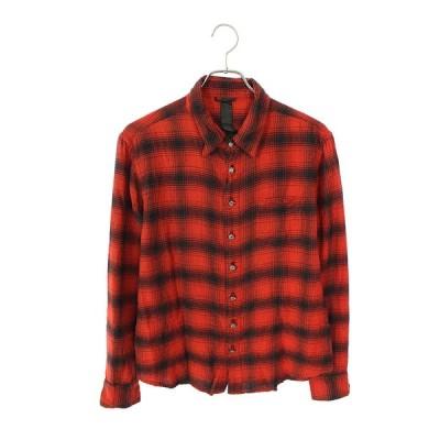 クロムハーツ Chrome Hearts CHプラスレザーパッチ胸ポケットチェック長袖シャツ SS07 中古