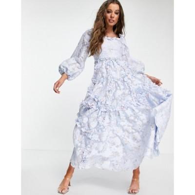 ニードルアンドスレッド レディース ワンピース トップス Needle & Thread Summer Blossom milk maid maxi dress with ruffles in blue floral
