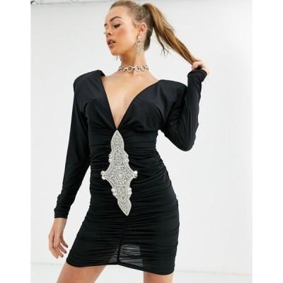 キキリキ ミディドレス レディース Kiki Riki plunge front bodycon dress with embellished detail in black エイソス ASOS ブラック 黒