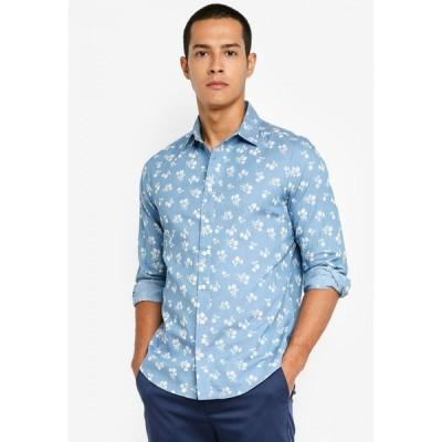 ザローラ ZALORA BASICS メンズ シャツ シャンブレーシャツ トップス Chambray Floral Shirt Light Blue Floral