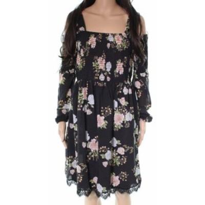 ECI ECI ファッション ドレス ECI NEW Black Smocked Floral Print Womens Size Medium M A-Line Dress