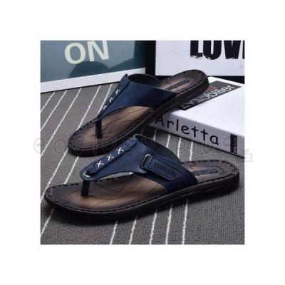 サンダル メンズ おしゃれ レザービーチサンダル スリッパ PUレザーサンダル ビーサン 靴001