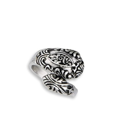 Victorian Style Filigree Spoon Wrap Thumb Ring Stainless Steel Band Si