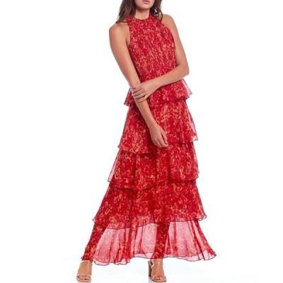 ルーシーパリ レディース ワンピース トップス Floral Print Sleeveless Tiered Halter Maxi Dress