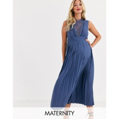 リトル ミストレス Little Mistress Maternity レディース ワンピース ミドル丈 lace detail midi dress with pleated skirt in lavender grey