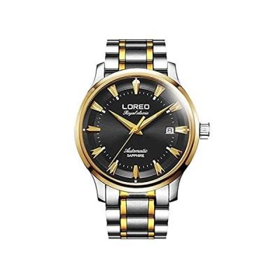 特別価格Loreoメンズ自動サファイアガラスゴールドとシルバーステンレススチール日付ブラック防水Watches好評販売中