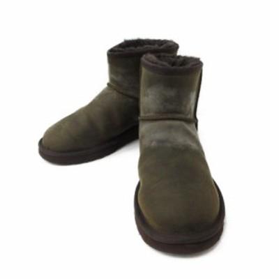 【中古】アグ オーストラリア UGG australia ブーツ ショート ボア CLASSIC MINI DECO レザー 25 カーキ 1003945 /MR メンズ