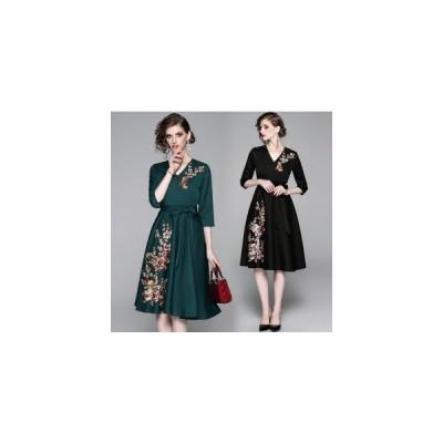 パーティードレス 結婚式ドレス vネック ワンピース 花柄刺繍 ウェディングドレス 二次会ブライズメイド ドレス 披露宴 エンパイア 20代30代40代50代 短納期