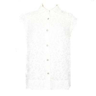 【中古】マルティニーク martinique レース 刺繍 ブラウス シャツ 半袖 コットン シルク混 白 ホワイト  レディース