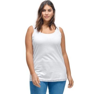レディース 衣類 トップス ellos Women's Plus Size Lace Trim Tank ブラウス&シャツ