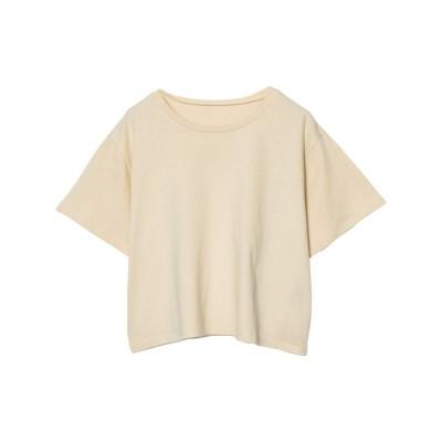 リエディ Re:EDIT [UVカット][抗菌防臭][お家で洗える]クルーネックショート丈Tシャツ (ライトベージュ)