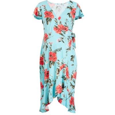 フォーティーンス プレイス ワンピース トップス レディース Flutter Sleeve Wrap Maternity Dress Blue