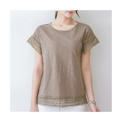Tシャツ レディース トップス 無地 半袖 レース配色 30代 40代 50代 ファッション 高級感 上品 夏 黒 茶色