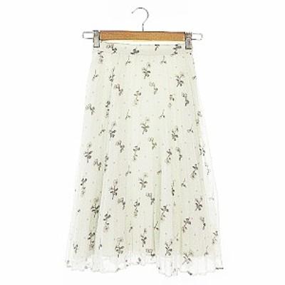 【中古】スウィングル Swingle スカート プリーツ ひざ丈 花柄 S オフホワイト /AAM30 レディース