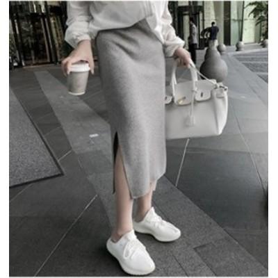 タイトスカート ハイウェストスカート ミモレ丈 大きいサイズ ゆったり Hライン スリット 春 黒  グレー グリーン ピンク アプリコット