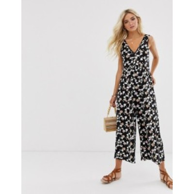 エイソス レディース ワンピース トップス ASOS DESIGN curved smock jumpsuit in grunge floral print Black/pink/red