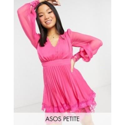 エイソス レディース ワンピース トップス ASOS DESIGN Petite Exclusive pleated skater mini dress with lace detail in hot pink Hot