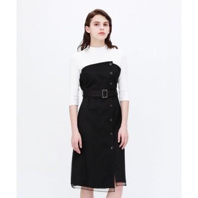 ワンピース メッシュ ブロッキング モックドレス