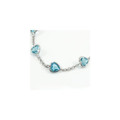 メンズ アンクレット ブルートパーズ ホワイトゴールドk18 フルエタニティ 18金 男性用 宝石 青い宝石 送料無料