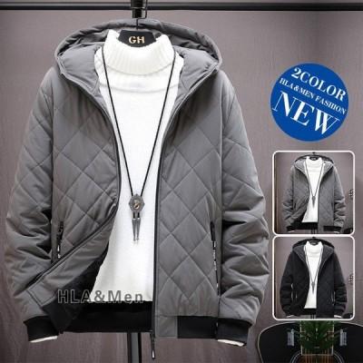 メンズ中綿ジャケット防寒着厚手ジャケット裏ボア中綿入りアウターフード付き冬服