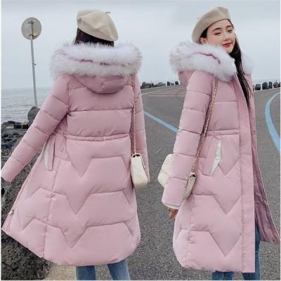 ダウンジャケット 中綿 ダウンコート 冬物 冬服 ロング丈 コート レディース 暖かい フード付き きれいめ ロングコート 軽量 大きいサイズ Aライン AlohaMahalo