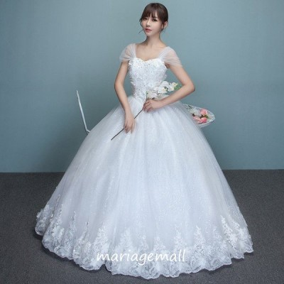 ウエディングドレス 半袖 花嫁 二次会 ウェディングドレス プリンセス 結婚式 ブライダル ロングドレス エンパイア マタニティドレス wedding dress